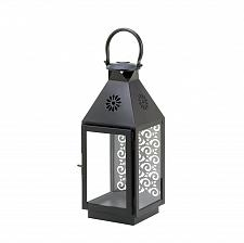 Buy *15818U - Small Sprightly Black Iron Candle Holder Lantern Intricate Back Panel