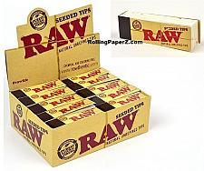 "Buy RAW Cigarette Rolling Papers ""SEEDED TIPS"" FULL BOX/30 PACKS Free USA Shipping"