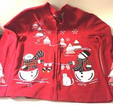 Buy Christmas Sweater Onque Casuals Red Snowmen Snowflakes Mittens Trees Zip Up Lg