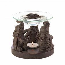 Buy *17308U - Brown Upright Elephant Trio Base Tea Light Oil Warmer