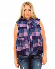 Buy Womens Flannel Vest PLUS SIZE 2X Navy Lilac Plaid Oleg Cassini Outer Wear Zipper