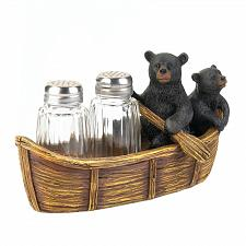 Buy *17739U - Black Bear Canoe Salt & Pepper Shaker Holder