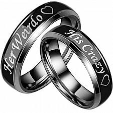 Buy coi Jewelry Tungsten Carbide His Crazy Her Weirdo Ring