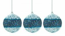 "Buy *17589U - True Blue Beaded 3"" Ball Tree Ornament 3pc Set"