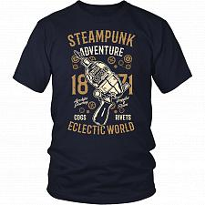 Buy Steampunk Adventure Adult Unisex T-Shirt Pop Culture Graphic Tee (Navy/District Unise