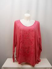 Buy Womens Knit Top PLUS SIZE 5X JUST MY SIZE Pink Glitter Floral Print V-Neck Long