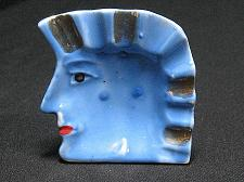 Buy Porcelain Egyptian Head Figural Ashtray Japan Blue Mohawk Snuffer Vintage