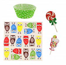 Buy *16435U - Owl Design Cupcake Party Pack 40 Napkins 24 Toppers 25 Liners