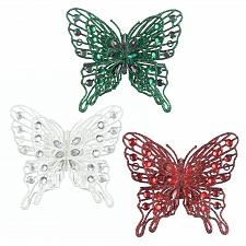 Buy *18109U - Red Green Clear Rhinestone Gem Butterfly Tree Ornament 3pc Set