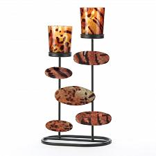 Buy 14602U - Tiger Print Glass 2 Cup Iron Votive Candle Holder Stand