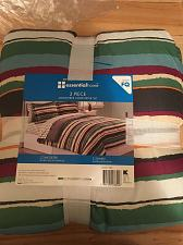 Buy Essential Home Stripped 3 Piece Comforter Set Full / Queen Microfiber New