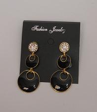 Buy Women Earrings Black Gold Tones Fashion Drop Dangle Rhinestones Push Back FASHIO