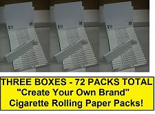 "Buy THREE FULL BOXES/72 Packs Total - BLANK ""Create Your Own Brand"" Rolling Papers"