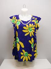 Buy Womens Top Blue Floral Waterfall Cap Sleeves Necklace VIVA YOU SIZE 1XL