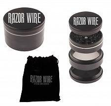 """Buy BLACK - 1.5"""" - RAZOR WIRE 4 Piece HERB GRINDER + Storage Pouch and Scraper"""