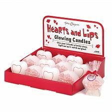 Buy 14892U - Hearts And Lips Paraffin Wax Glow Candles 1 DZ