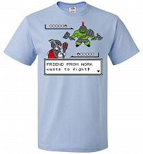 Buy Friendly Foe Unisex T-Shirt Pop Culture Graphic Tee (4XL/Light Blue) Humor Funny Nerd