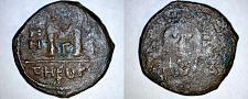 Buy 592-593AD Byzantine Era AE28 Follis - Maurice Tiberius - Year 11 - Antioch Mint