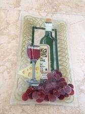 """Buy decorative glass cheese plate wine and grapes 12.5"""" X 7.5"""""""