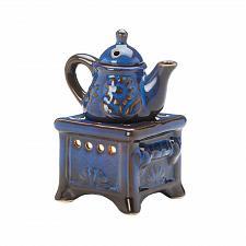 Buy *17714U - Teapot Stove Blue Porcelain Tea Light Oil Warmer 2pc