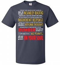 Buy Insanely Idiotic Adult Unisex T-Shirt Pop Culture Graphic Tee (2XL/J Navy) Humor Funn