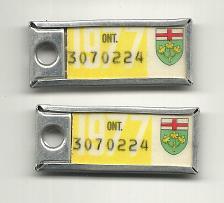 Buy War Amps Key Tag Ontario 1977 License Plate PAIR 3070224 Key Fob Tags