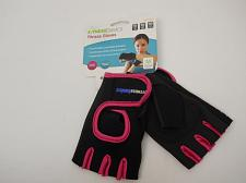 Buy Women Fitness Gloves Black FITNESS BASIC Pink Trim Size M Breathable Padded Palm