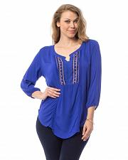 Buy Womens Tunic Top PLUS SIZE 1X 2X Embroidered Scoop Neck Blue ¾ Sleeves ARAZA
