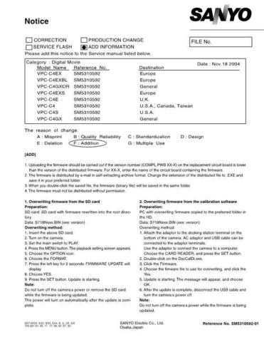 Sanyo Service Manual For VPC-C4E-01 by download #176270