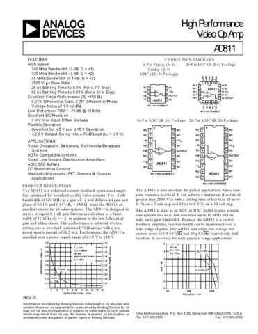 INTEGRATED CIRCUIT DATA AD811J Manual by download Mauritron #186365