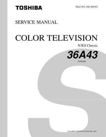 TOSHIBA 36A43 SVCMAN Service Schematics by download #159933