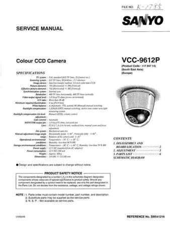 Sanyo VCC-9530 PartsList Manual by download #177383