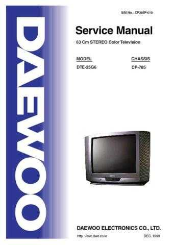 DAEWOO SM DTE-25G6 (E) Service Data by download #150338