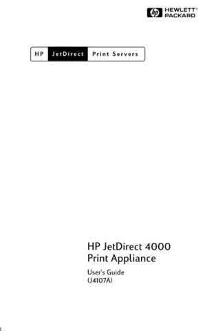 HP JETDIRECT PRINT SERVER 4200 USER GUIDE by download #147547