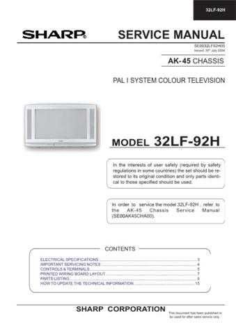 Sharp 32JF73H SM GB(1) Manual by download #170030