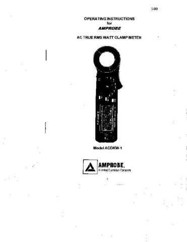 Amprobe ACDKW1 User Instructions Operating Guide by download Mauritron #194189