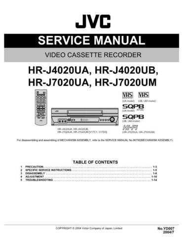 JVC HR-J7020UM Service Schematics by download #155948