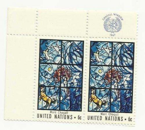 1967 UN MARC CHAGALL WINDOW UN StampWINDOW UN Stamps