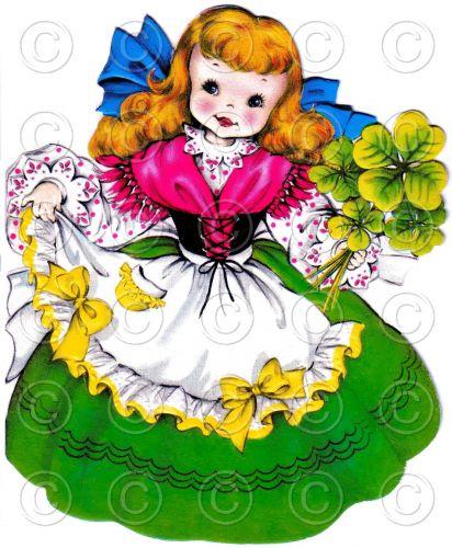 Luck of the Irish Pretty Girl Doll Card Vintage Digital Image Illustration St. P