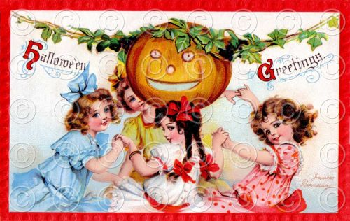 Vintage Victorian Halloween Greetings Postcard Digital Image Frances Brundage