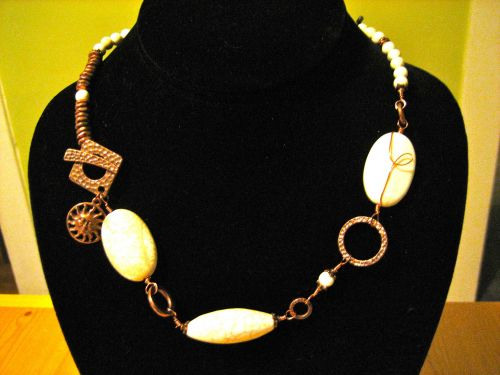 White Turquoise and Copper necklace