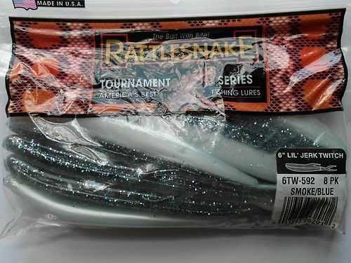 "Rattlesnake Lures Soft Bait 6"" LI'L Jerk Twitch Minnow Smoke Blue 8 NEW"