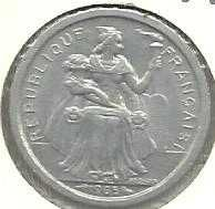1965 French Polynesia 1 Franc - FRENCH OCEANIA NOVVELLE.CALEDONIE