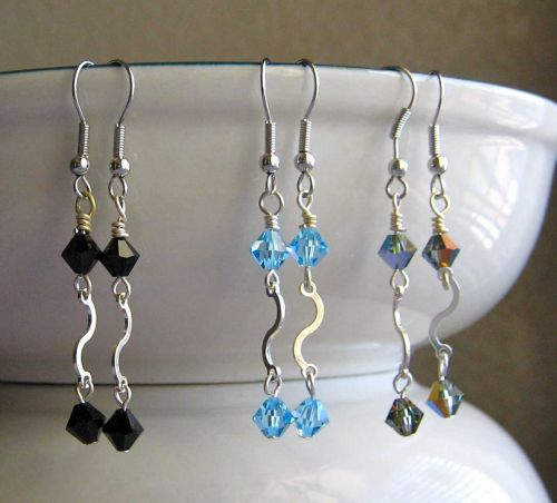 Sparkling Waves Crystal Dangle Earrings