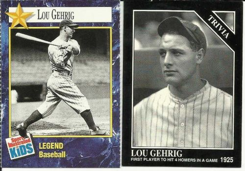 Legendary Lou Gehrig set of 2 Baseball Cards