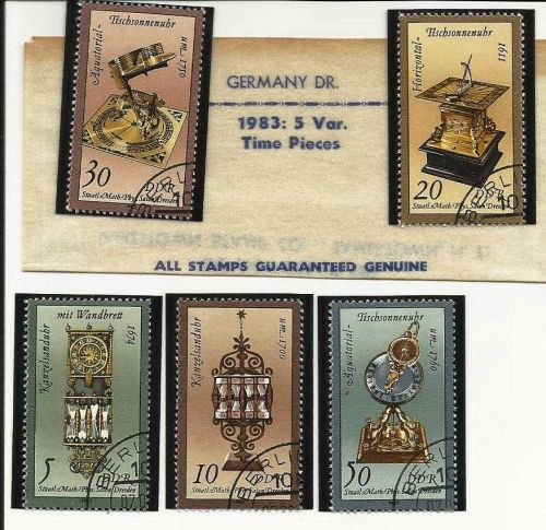 1983 German Dem Repub Set of 5 Stamps - Time Pieces