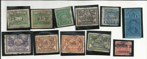 """11 Stock Transfer, Wine, Cigarette, Cosmetic Tax """"Revenue"""" Stamps - Historic!"""