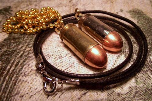 45 ACP necklace brass leather cool gift pendant punk