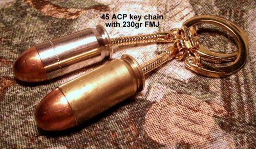 45 ACP handgun key chain fob ring. Brass or Nickel cased. Neat gift!