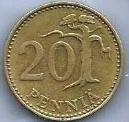 FINLAND ANTIQUE 20 PENNIA 1964 COIN Rampant Lion Shield Scandinavian Coin